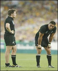 Richie McCaw and Jerry Collins of New Zealand show their despair during the game