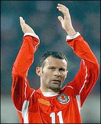 Ryan Giggs salutes the Wales fans