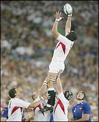 England's Ben Kay wins a line-out