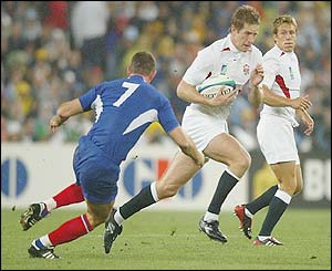 England's Will Greenwood goes on a break