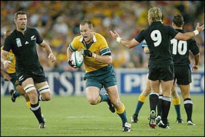 Stirling Mortlock scores for Australia with an intercept try