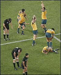 Australia's players celebrate their win over New Zealand
