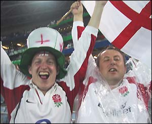 England fans celebrate England's semi-final victory over France