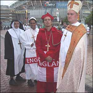 England fans dressed as nuns, cardinals and bishops