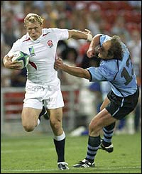Josh Lewsey scores for England against Uruguay