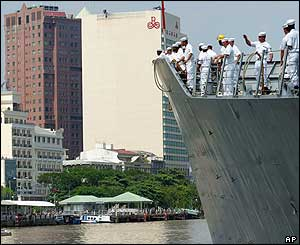 The US Navy ship Vandegrift arriving in Ho Chi Minh city