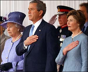 The Queen, President Bush and Laura Bush