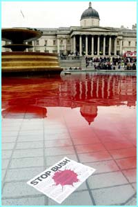Some protestors threw red dye into the fountains at Trafalgar Sqaure.