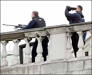 Snipers guarding Whitehall
