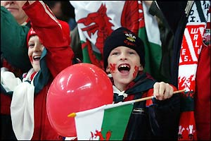 The Wales fans cheer their side in Cardiff