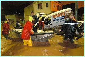 Dozens of people's homes had to be evacuated as heavy rain flooded Marseilles.