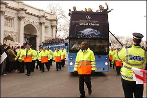 The England team set off on their parade