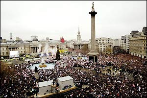 Trafalgar Square marks the end of the parade