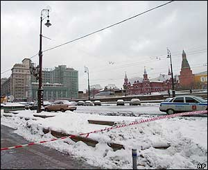 A general view of Manezh Square with the explosion site outside the National Hotel, left, across from the Kremlin