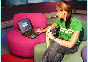 Then Ellie checks her lap top, ready to receive any breaking news stories which might happen as we go on air