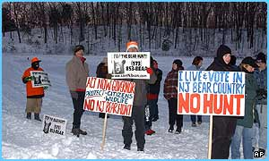 Protesters at the New Jersey bear hunt