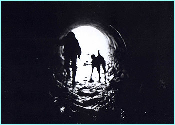 Here is an arty black and white photo of a man and his dog in a tunnel by William Willby, 16
