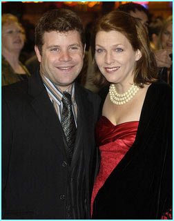 Sean Astin, who plays Sam, arrives with his wife