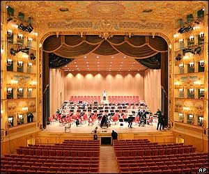 Spectacular view of the stage and seating of Venice's La Fenice opera house