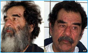Saddam Hussein after he was captured (left), and then shaved of his beard
