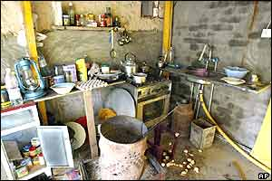 The kitchen of the mud hut where Saddam Hussein was staying when he was caught