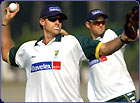 Australia's Matt Hayden aims for the stumps