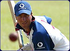 Michael Vaughan gets ready to bat in practice