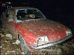 Car damaged by the crash