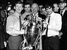 Sir Matt Busby with Pat Crerand and George Best
