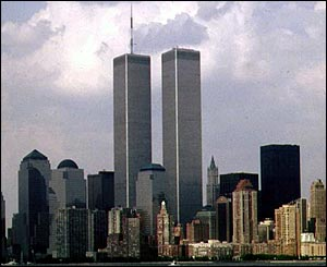 The World Trade Center Twin Towers before the 11 September 2001 attacks