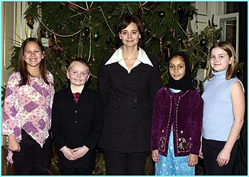 Prime Minister's wife Cherie Blair poses for photo's at one of the regular tea-parties she hosts for school children with their local MP's