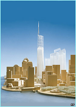 This is final design for a new building to replace the World Trade Center in New York. The Freedom Tower will be the world's tallest structure, at 541 metres