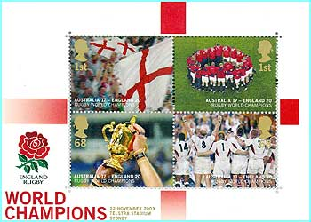 These Rugby World Cup stamps have been released to commemorate England's victory. The 68p stamp will get to Australia!