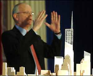 David Childs with model of Freedom Tower