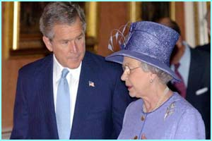 US President George Bush meets the Queen