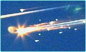 Columbia fell apart as it re-entered the Earth's atmosphere on 1 February 2003, killing its crew of seven astronauts
