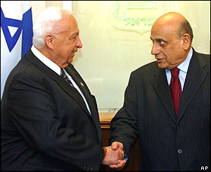 Israeli Prime Minister Ariel Sharon meets Egyptian Foreign Minister Ahmed Maher