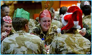 UK soldiers have been tucking into Christmas dinner