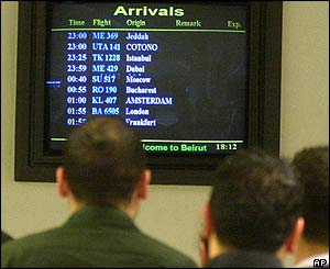 Arrivals screen at Beirut airport on 25 December