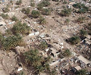 An aerial shot of the ruins of Bam