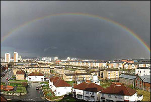 This rainbow was captured over parts of Cardiff and was sent in by Martyn Pinches