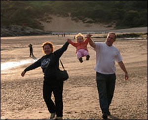 Dave Thurlow captured Phil and Lyn Tucker with their daughter Marriane on the beach in north Wales