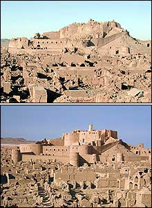 Pictures of the Bam citadel taken in December 2003 and in 1975