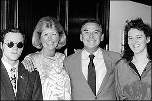 Bob Monkhouse with second wife Jacqueline and his children Simon and Abigail