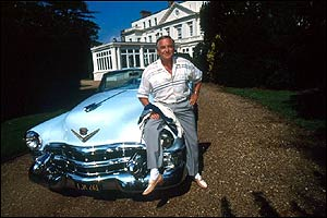 Bob Monkhouse outside Pinewood Studios, Buckinghamshire