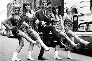 Bob Monkhouse with The Beat Girls in a dance routine in London's Floral Street in 1967
