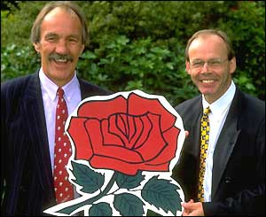 Clive Woodward (right) is announced as the new England coach in September 1997