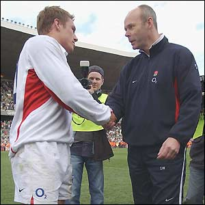 Jonny Wilkinson is congratulated by Clive Woodward on winning the 2003 Grand Slam