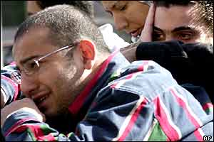 Distraught relatives of the Egyptian crew outside the Cairo offices of Flash Airlines.