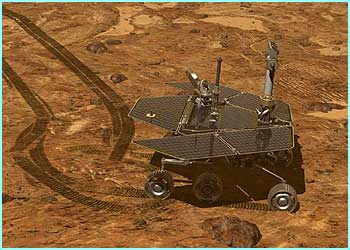 Spirit is a six-wheeled vehicle about the size of a golf cart, equipped to play the role of a geological explorer